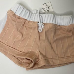 Dust Pink White Lined Shorts Elastic Waist Band SM